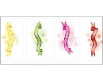 漂亮的5色丝带矢量素材