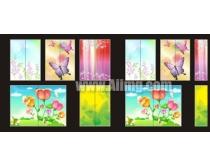 5款花朵移门图案矢量素材