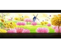 春天风景水彩画psd素材