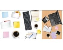 书桌上的办公物件矢量素材