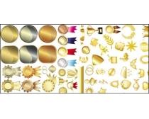 素材 金属质感/金属质感徽章图标矢量素材