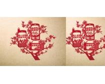 中国电信剪纸设计PSD素材