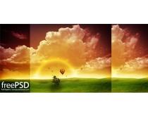 梦幻自然风景夕阳PSD素材