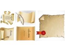 羊皮卷和羽毛笔矢量素材