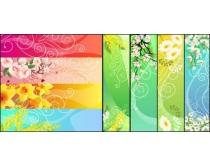 花卉花纹横幅矢量素材