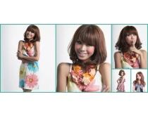 甜美美发模特图片素材