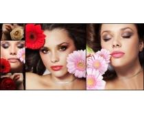 美女与鲜花高清图片素材