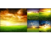 青青草地与落日余晖摄影图片素材