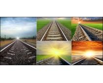 铁轨与自然风景摄影图片素材