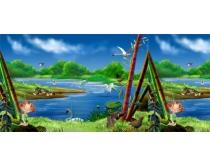 森林动物之家池塘风景PSD分层素材