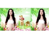 孕妈妈写真背景PSD素材