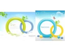 绿叶装饰圆形设计矢量素材