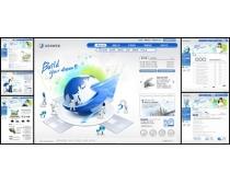韩国商业企业蓝色系列网页模板