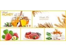 高清蜂蜜草莓洋葱麦穗图片素材