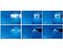 蓝色画册模板设计矢量素材