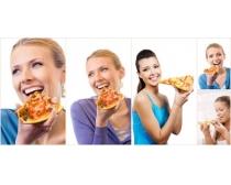 吃比萨的美女图片素材