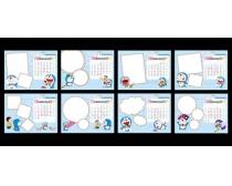 2012年哆啦A梦台历模板PSD素材