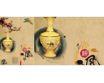 中国风精品花瓶PSD素材