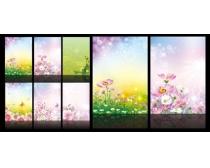 梦幻春天花纹背景展板设计矢量素材