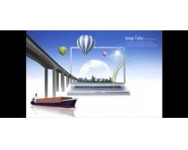 商业大桥轮船金融PSD素材