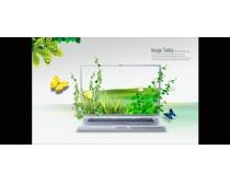 笔记本绿化创意PSD素材