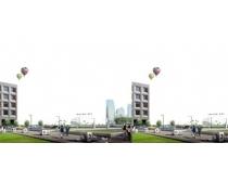 广场环境效果PSD素材