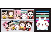 韩版可爱卡通本本封面设计矢量素材