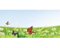 蓝天下蝴蝶在花丛中飞舞PSD分层素材