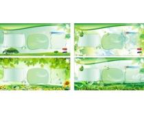 绿色春天展板设计矢量素材
