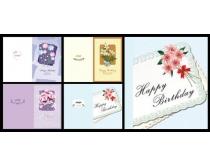 韩国花纹生日卡片设计PSD素材