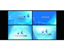 时尚蓝色科技名片卡片设计PSD素材
