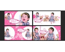 粉红甜甜圈可爱风格儿童相册模板设计PSD素材