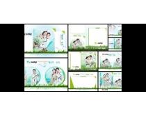绿色爱情系列影楼背景模板