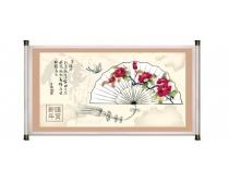 中国风扇子画卷PSD素材