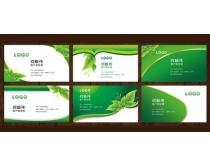 高档绿色绿叶名片卡片设计PSD素材
