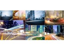 高楼大厦霓虹闪烁城市夜景高清图片素材