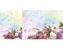 梦幻鲜花背景PSD素材