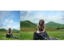 草原下的少女PSD素材