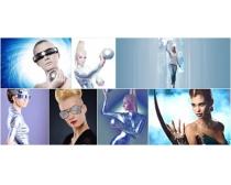美女与科技高清图片素材