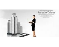 职场女性与城市建筑PSD素材