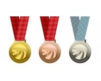 金银铜质感奖牌及挂带PSD素材