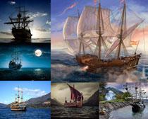海上航行的海盗船高清摄影图片