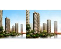 沿河小区景观建筑PSD素材