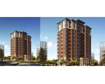 高层小区建筑效果图PSD素材
