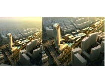 城市景观鸟瞰图PSD素材