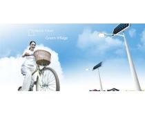 自然天空骑自行车女孩PSD素材