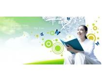 女大学生封面模板PSD素材