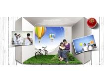 休闲家庭照片墙PSD素材