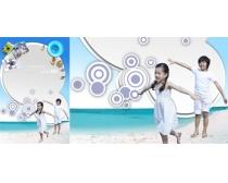 自由快乐沙滩儿童PSD素材