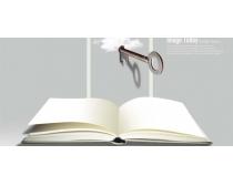 钥匙与书本PSD素材